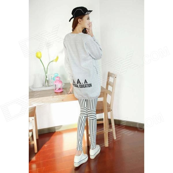 Fashion Vertical Stripe Leggings for Women - White + Black (Free Size)