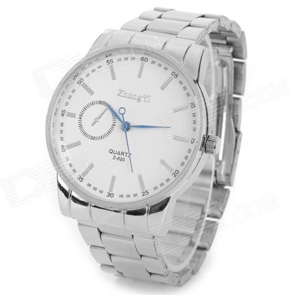 Zhongyi W620 Quartz Steel Band Alloy Shell Analog armbåndsur for menn - Silver + Hvit (1 x 626)