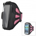 Outdoor Sports Mesh Armband Case for Samsung Galaxy S3 i9300 - Pink + Black