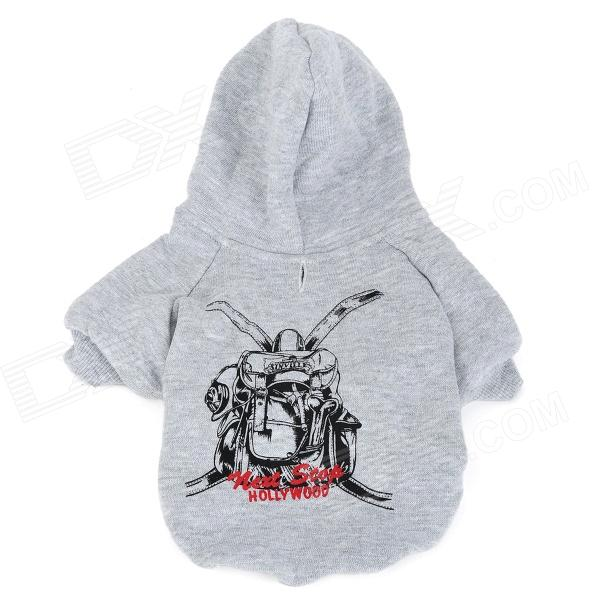 M-0009 Schoolbag Pattern Cotton Hooded T-shirt for Pet Dog - Grey (Size S)