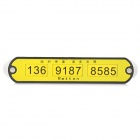 Puzzle Phone Number Plate - Yellow