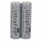 UltraFire 3.7V 500mAh recarregável Li-ion Battery 14500 - Dark Grey (2 PCS)