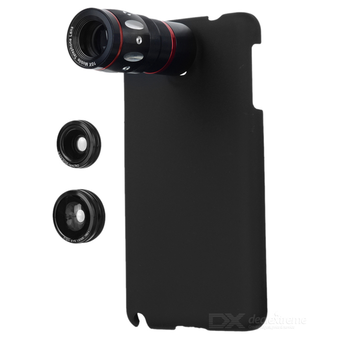 4-in-1 10X Telescope + Fisheye + Macro + Wide Angle Lens Set for Samsung Galaxy Note 3 - Black