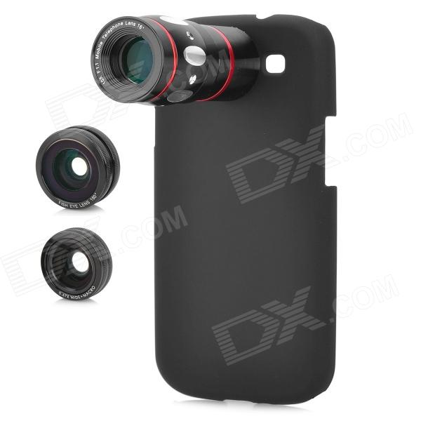 4-in-1 10X Telescope + Fisheye + Macro + Wide Angle Lens Set for Samsung Galaxy S3 i9300 - Black 8x camera zoom optical telescope lens back cover for samsung galaxy s3 i9300 black silver