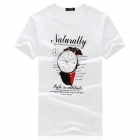 1813 Men's Stylish Comfortable Patterned Cotton T-shirt - White + Black + Multi-colored (L)