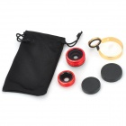 3-in-1 0.67X Wide Angle / Macro + 180 Degree Fisheye Lens for Cellphone Camera - Red + Golden