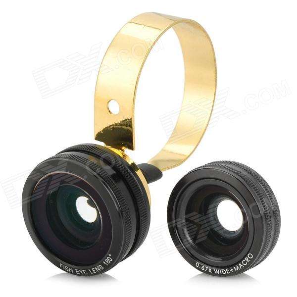 3-in-1 0.67X Wide Angle / Macro + 180 Degree Fisheye Lens for Cellphone Camera - Black + Golden