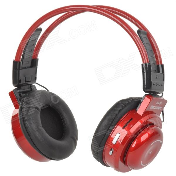 BS-361 Fold-up Retractable Headband Headphone w/ TF / FM / Mini USB / 3.5mm - Crimson + Black