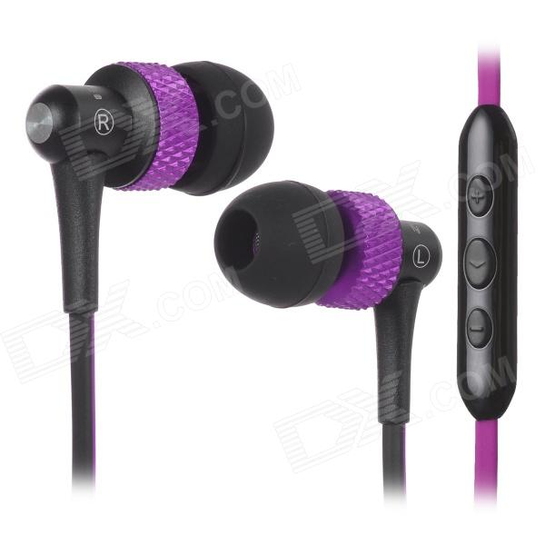 цена на AWEI S40Vi TPE 3.5mm In-Ear Earphone w/ Mic / Remote for IPHONE / HTC + More - Purple + Black