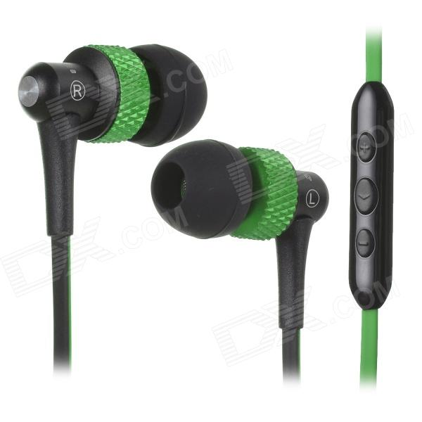 цена на AWEI S40Vi TPE 3.5mm In-Ear Earphone w/ Mic / Remote for IPHONE / HTC + More - Green + Black