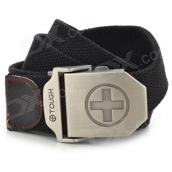 SW38225 Cross Style Canvas Stainless Steel Waist Belt for Men - Black + Silver feis sq 1001 cross style stainless steel bookmarks silver 4 pcs