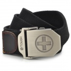 SW38225 Cross Style Canvas Stainless Steel Waist Belt for Men - Black + Silver