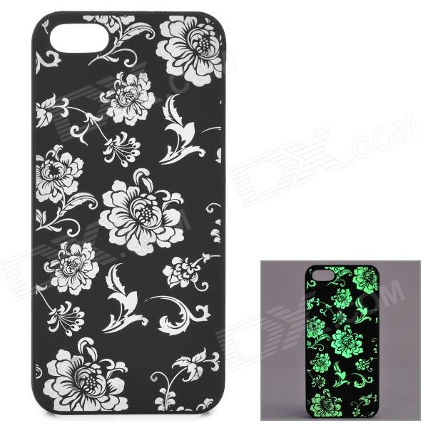 KWEN CC-1 Stylish Glow-in-the-dark Chrysanthemum Pattern PC Back Case for IPHONE 5 / 5S - Black girl pattern glow in the dark protective tpu back case for iphone 4 4s white light pink