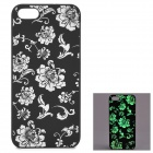 KWEN CC-1 Stylish Glow-in-the-dark Chrysanthemum Pattern PC Back Case for IPHONE 5 / 5S - Black