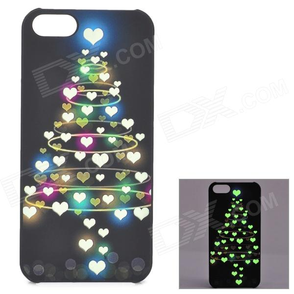 KWEN CC-1 Stylish Glow-in-the-dark Heart Pattern PC Back Case for IPHONE 5 / 5S - Multicolored glow in the dark skull pattern protective pvc back case for iphone 5 black pink blue green