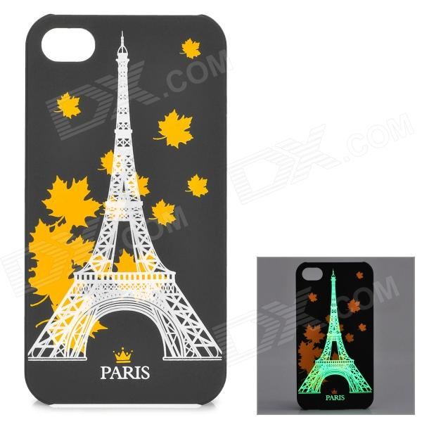 KWEN CC-1 Stylish Glow-in-the-dark Eiffel Tower Pattern PC Back Case for IPHONE 5 / 5S - Black girl pattern glow in the dark protective tpu back case for iphone 4 4s white light pink