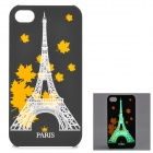 KWEN CC-1 Stylish Glow-in-the-dark Eiffel Tower Pattern PC Back Case for IPHONE 4 / 4S - Black