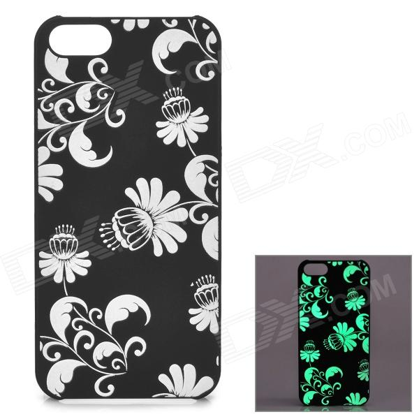 KWEN CC-1 Stylish Glow-in-the-dark Floral Pattern PC Back Case for IPHONE 5 / 5S - Black + White glow in the dark skull pattern protective pvc back case for iphone 5 black pink blue green