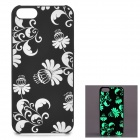 KWEN CC-1 Stylish Glow-in-the-dark Floral Pattern PC Back Case for IPHONE 5 / 5S - Black + White