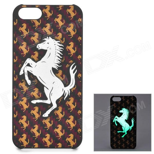 KWEN CC-1 Stylish Glow-in-the-dark Horse Pattern PC Back Case for IPHONE 5 / 5S - White + Brown snake pattern leather coated pc back case for iphone se 5s 5 brown
