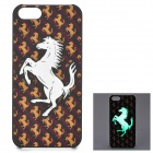 KWEN CC-1 Stylish Glow-in-the-dark Horse Pattern PC Back Case for IPHONE 5 / 5S - White + Brown
