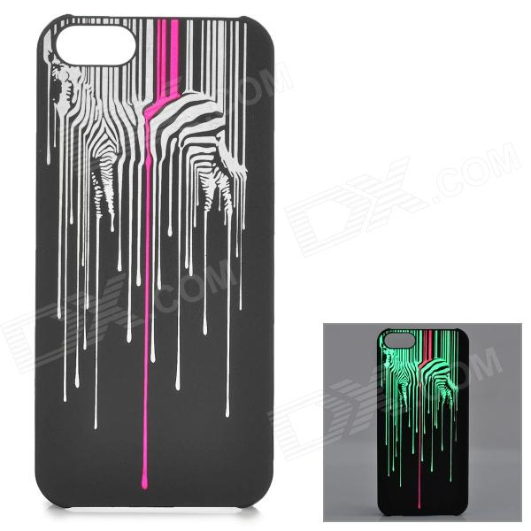 KWEN CC-1 Stylish Glow-in-the-dark Zebra Pattern PC Back Case for IPHONE 5 / 5S - Multicolored girl pattern glow in the dark protective tpu back case for iphone 4 4s white light pink