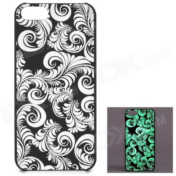 KWEN CC-1 Stylish Glow-in-the-dark Plants Pattern PC Back Case for IPHONE 5 / 5S - Black + White stylish survival glowing in the dark paracord bracelet white