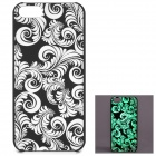 KWEN CC-1 Stylish Glow-in-the-dark Plants Pattern PC Back Case for IPHONE 5 / 5S - Black + White