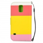 High Quality PU Leather Flip Open Case w/ Stand / Card Slots / Strap for Samsung Galaxy S5