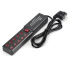 3010C Universal Compact 5V 2.1A 10-USB Output Dual IC US Plug Power Adapter - Black + Red