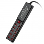 Universal Compact 5V 2.1A 10-USB Output Dual IC US Plugs Power Adapter - Black + Red