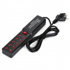 3010C Universal Compact 5V 2.1A 10-USB Output Dual IC EU Plug Power Adapter - Black + Red