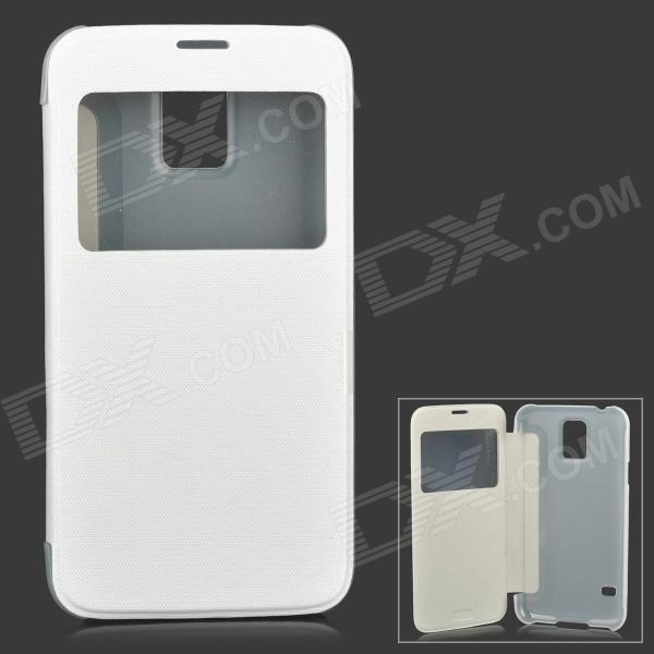 Protective Plastic Flip-open Case for Samsung Galaxy S5 i9600 - White + Translucent White protective ps plastic case for samsung i9100 galaxy s2 translucent white