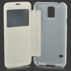 Protective Plastic Flip-open Case for Samsung Galaxy S5 i9600 - White + Translucent White