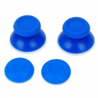 Replacement Plastic 3D Joystick Cap w/ Anti-slip Silicone Cover for PS4 - Blue (2 Pairs)
