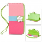 Protective PU Leather + Plastic Case w/ Camellias for IPHONE 5 / 5S - Pink + Blue + Deep Pink