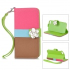 Protective PU Leather + Plastic Case w/ Camellias for IPHONE 5 / 5S - Deep Pink + Brown + Blue