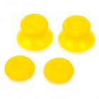Replacement Plastic 3D Joystick Cap w/ Anti-slip Silicone Cover for PS4 - Yellow (2 Pairs)