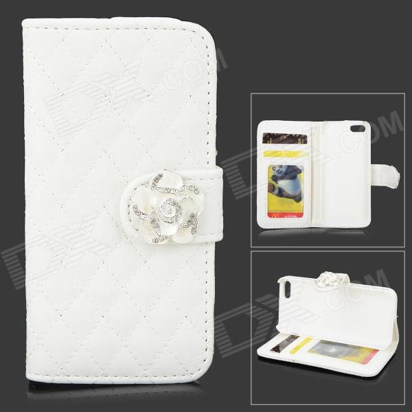 Protective PU Leather Case Cover Stand w/ Card Slots for IPHONE 5 / 5S - White glossy leather wallet stand cover with 5 card slots for iphone 7 4 7 white