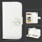 Protective PU Leather Case Cover Stand w/ Card Slots for IPHONE 5 / 5S - White