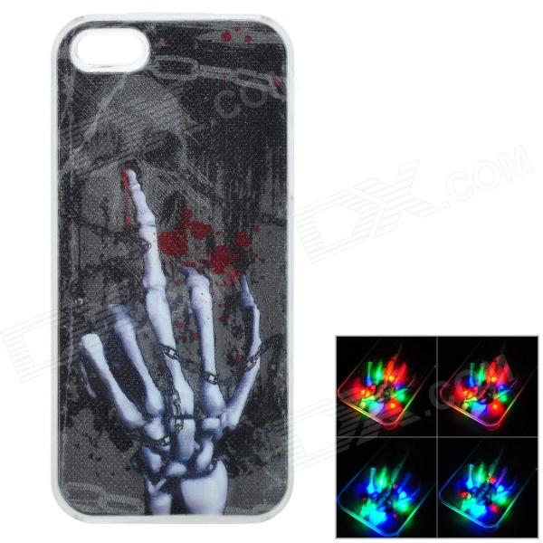 3D Skeleton Hand Pattern Plastic RGB Flashing Back Case for IPHONE 5 / 5S - Black + Silver plastic standing human skeleton life size for horror hunted house halloween decoration