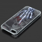 3D Skeleton Hand Pattern Plastic RGB Flashing Back Case for IPHONE 5 / 5S - Black + Silver