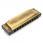 Swan SW1020-8 Copper + Stainless Steel + Plastic 10-Hole C-Tune Harmonica - Bronze + Black