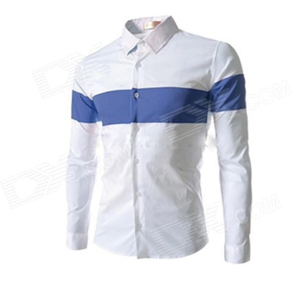 8674 Men's New Style Slim Mixed Colors Long-sleeved Shirt - White + Blue (Size XL)