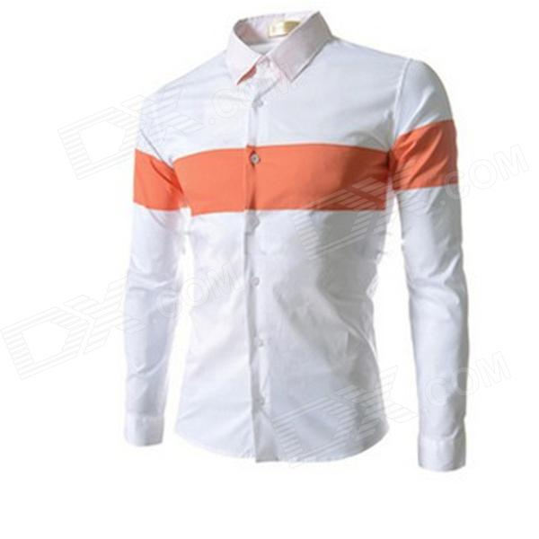 8674 Men's New Style Slim Mixed Colors Long-sleeved Shirt - White + Orange (Size XL)