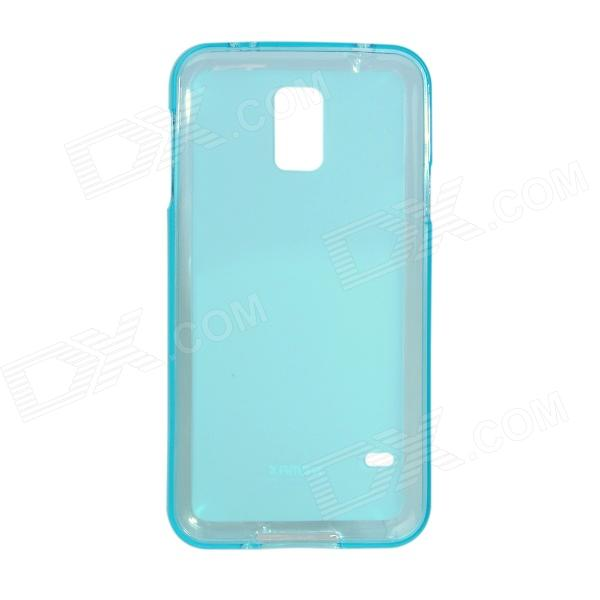 Remax Protective Soft TPU Back Case + Screen Protector for Samsung Galaxy S5 - Translucent Blue protective pvc tpu back case screen protector for samsung galaxy s5 dark pink