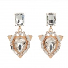 LM006 Fashion Women's Transparent Rhinestone Zinc Alloy Earrings - Golden + Transparent (Pair)