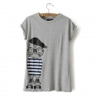 Cartoon Cat Printing Short-Sleeve T-Shirt - Gray (Size M)