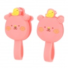 Cute Bear Style Silicone Cable Management Ties - Deep Pink (2 PCS)
