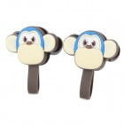 Cartoon Monkey Style Silicone Cable Management Ties - Brown + White (2 PCS)